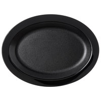 Carlisle PCD41203 Black 12 inch x 9 inch Oval Polycarbonate Platter - 24/Case