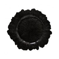 10 Strawberry Street SPB340 13 3/4 inch Sponge Black Glass Charger Plate