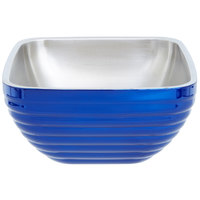 Vollrath 4763425 Double Wall Square Beehive 3.2 Qt. Serving Bowl - Cobalt Blue