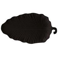 GET LE-2514-BK 25 inch x 13 3/4 inch Black Sonoma Melamine Leaf Platter - 6/Case