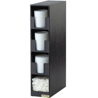 San Jamar L2203 Black 3-Compartment Vertical Countertop Lid Organizer with Straw Bin