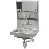 Advance Tabco 7-PS-80 Hand Sink With Towel And Soap Dispenser - 17 1/4 inch x 15 1/4 inch