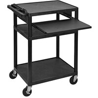 Luxor 34 inch x 24 inch x 18 inch Three-Shelf A/V Cart with Electric Assembly and Pullout Shelf - LP34LE-B
