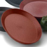 HS Inc. HS1058SB 13 inch Paprika Polypropylene Oval Deli Server with Short Base - 48/Case