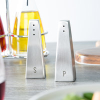 Tablecraft 161 1 oz. Hancock Stainless Steel Salt and Pepper Shaker Set - 6/Box