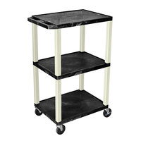 Luxor WT42E Black Tuffy AV Cart - 3 Shelf, 24 inch x 18 inch x 42 inch