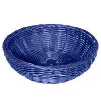 GET WB-1512-BL 11 1/2 inch x 3 1/2 inch Designer Polyweave Blue Round Basket - 12/Case
