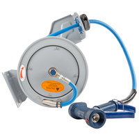 T&S B-7212-05 15' Open Epoxy Coated Steel Hose Reel with Front Trigger Water Gun