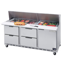 Beverage-Air SPED72-30M-4 72 inch Mega Top Refrigerated Salad / Sandwich Prep Table with One Door and Four Drawers
