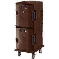 Cambro UPCH800131 Dark Brown Ultra Camcart Two Compartment Heated Holding Pan Carrier with Casters, Both Compartments Heated - 110V