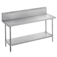 Advance Tabco VKS-246 Spec Line 24 inch x 72 inch 14 Gauge Work Table with Stainless Steel Undershelf and 10 inch Backsplash