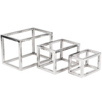 American Metalcraft HMRRSET 3-Piece Hammered Stainless Steel Open Frame Riser Set