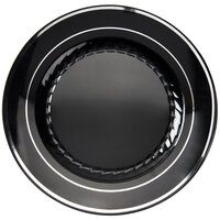 Fineline Silver Splendor 507-BKS Black 7 inch Plastic Plate with Silver Bands - 150 / Case