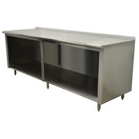 Advance Tabco EF-SS-248 24 inch x 96 inch 14 Gauge Open Front Cabinet Base Work Table with 1 1/2 inch Backsplash