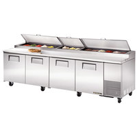 True TPP-119 119 inch Four Door Refrigerated Pizza Prep Table