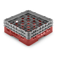 Cambro 16S958416 Camrack 10 1/8 inch High Cranberry 16 Compartment Glass Rack