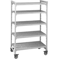 Cambro CPMU184275V5480 Camshelving Premium Mobile Shelving Unit with Premium Locking Casters 18 inch x 42 inch x 75 inch - 5 Shelf