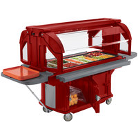 Cambro VBRU6158 Hot Red 6' Versa Ultra Food / Salad Bar with Storage and Standard Casters