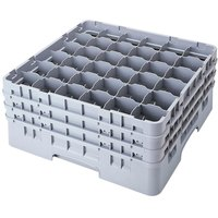Cambro 36S900151 Soft Gray Camrack 36 Compartment 9 3/8 inch Glass Rack
