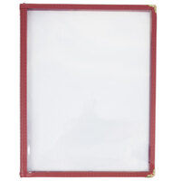 8 1/2 inch x 11 inch Three Pocket Menu Cover - Burgundy