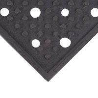 Cactus Mat 1640R-C332 REVERS-a-MAT 3' Wide Black Reversible Rubber Anti-Fatigue Safety Runner Mat - 3/8 inch Thick