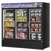 Turbo Air TGF-72FB Black Three Glass Door Reach In Merchandising Freezer - 72 Cu. Ft.