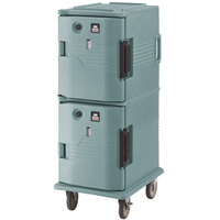 Cambro UPCH800401 Slate Blue Ultra Camcart Two Compartment Heated Holding Pan Carrier with , Both Compartments Heated - 110V