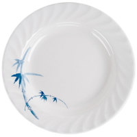 Thunder Group 1210BB Blue Bamboo 10 1/2 inch Round Melamine Curved Rim Plate - 12/Pack