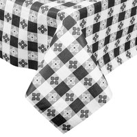 Intedge Black Checkered Gingham Vinyl Table Cover with Flannel Back, 25 Yard Roll