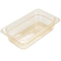 Carlisle 3088013 StorPlus 1/4 Size Amber High Heat Plastic Food Pan - 2 1/2 inch Deep