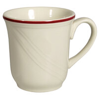 Homer Laughlin 1613614 Lyrica Lydia Maroon 7.25 oz. Off White China Cup - 36/Case