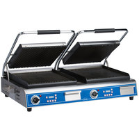 Globe GPGDUE14D Deluxe Double Sandwich Grill with Grooved Plates - Dual 14 inch x 14 inch Cooking Surfaces - 208/240V, 7200W