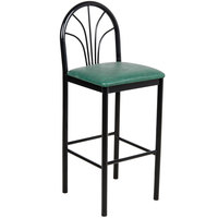 "Lancaster Table &amp&#x3b; Seating Fan Back Bar Height Cafe Chair with 2"" Green Padded Seat"