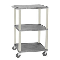Luxor WT1642E Gray Tuffy Open Shelf A/V Cart 18 inch x 24 inch with 3 Shelves - Adjustable Height