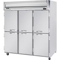 Beverage Air HFP3-5HS 3 Section Solid Half Door Reach-In Freezer - 74 cu. ft., Stainless Steel Exterior