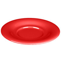Thunder Group CR9108PR 5 1/2 inch Pure Red Melamine Saucer for 8 oz. Bouillon Cup and 4 oz. Salad Bowl - 12/Pack