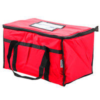 Choice Insulated Food Delivery Bag / Pan Carrier, Red Nylon, 23 inch x 13 inch x 15 inch