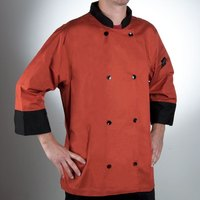 Chef Revival J134SP-L Cool Crew Fresh Size 46 (L) Spice Orange Customizable Chef Jacket with 3/4 Sleeves - Poly-Cotton
