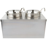 APW Wyott CWM-2SP Full Size Insulated Countertop Food Cooker / Warmer with (2) 7 Qt. Insets, 2 Ladles, and 2 Lids - 120V