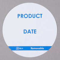 "Noble Products 3"" Product Date Round Removable Label with Dispenser Carton - 500/Roll"