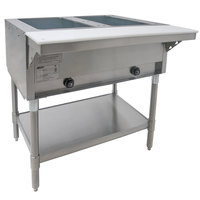 Eagle Group SHT2 Natural Gas Steam Table Two Pan - All Stainless Steel - Open Well