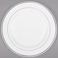 WNA Comet MP6WSLVR 6 inch White Masterpiece Plastic Plate with Silver Accent Bands