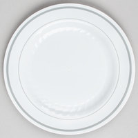 WNA Comet MP6WSLVR 6 inch White Masterpiece Plastic Plate with Silver Accent Bands - 15 / Pack