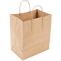 Duro Bistro Natural Kraft Paper Shopping Bag with Handles 10 inch x 6 3/4 inch x 12 inch - 250/Bundle