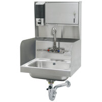 Advance Tabco 7-PS-87 Hand Sink with Side Splash Guards and Soap Dispenser - 17 1/4 inch x 15 1/4 inch