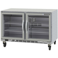 Beverage-Air UCR48AR-25-LED 48 inch Remote Cooled Undercounter Refrigerator with Glass Doors and LED Lighting