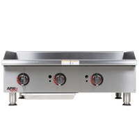 APW Wyott GGM-48i Champion 48 inch Countertop Griddle with Manual Controls and 2 Safety Pilots - 100,000 BTU