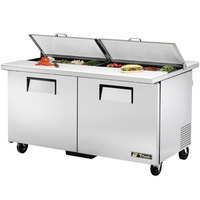 True TSSU-60-16-DS-ST 60 inch Dual Side Two Door Sandwich / Salad Prep Refrigerator
