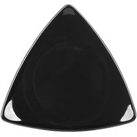 CAC TRG-21BK Festiware Triangle Flat Dinner Plate 11 1/2 inch - Black - 12/Case
