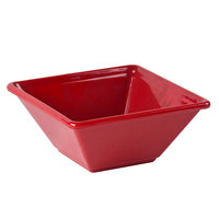 4 3/4 inch x 4 3/4 inch Passion Red Square 8 oz. Melamine Bowl - 12/Pack